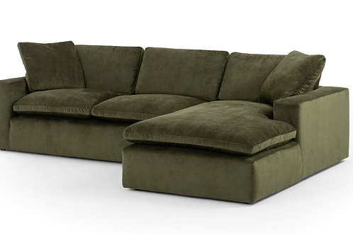 Olive Green Velvet Sectional