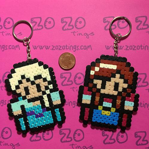 Frozen Anna & Elsa Pixel Keyrings