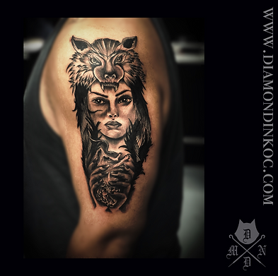 Girl and wolf tattoo