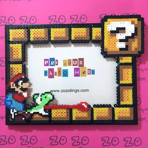 Mario and Yoshi Pixel Photo Frame