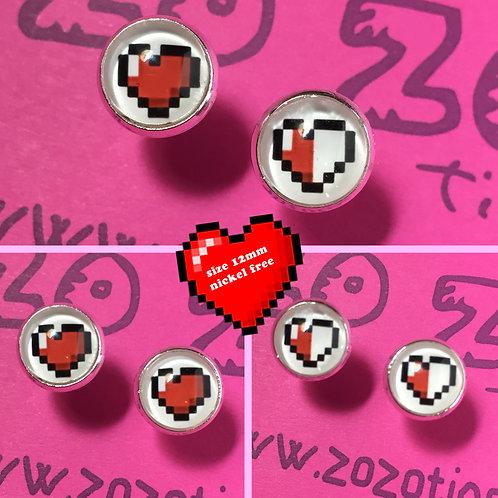 Pixel Heart Stud Earrings