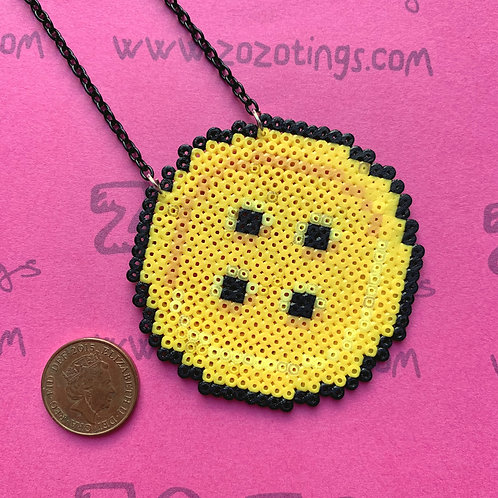 Button Moon Pixel Necklace