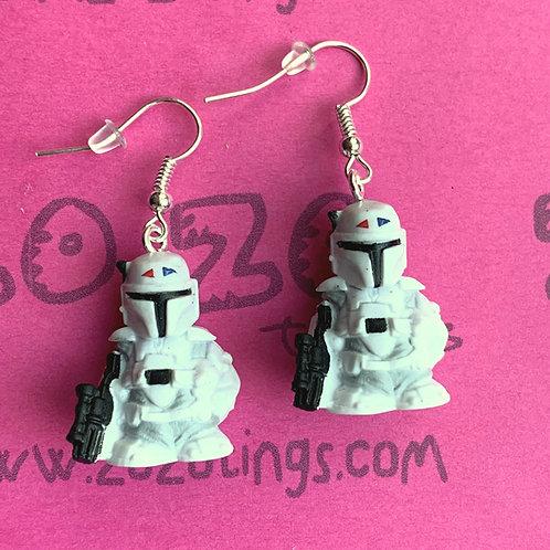 Star Wars Boba Fett Bounty Hunter Concept White Fighter Pod Earrings