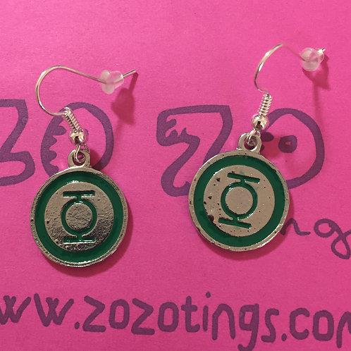 Green Lantern Metal Earrings