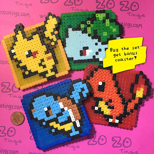 Pokemon Set 1 Pixel Coasters