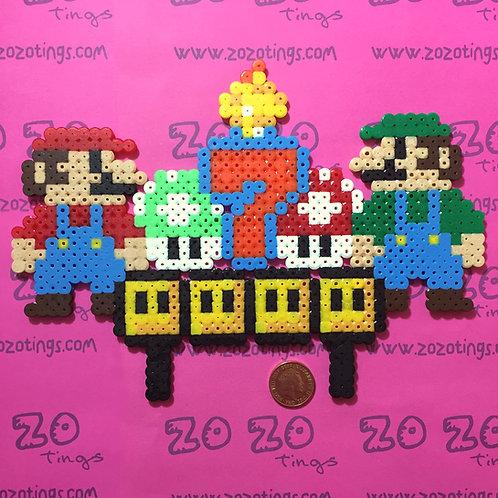 Mario Bros. Pixel Birthday Cake Topper