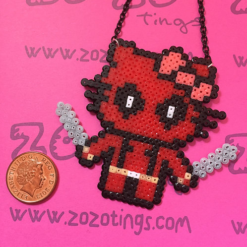 Deadpool Kitty Pixel Necklace