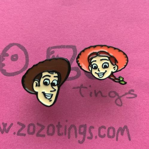 Toy Story Woody & Jessie Metal Stud Earrings