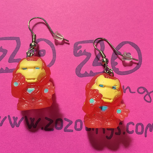 Iron Man Clear Squinkie Earrings
