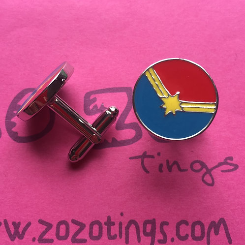 Captain Marvel Metal Cufflinks