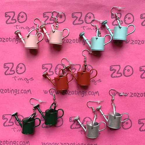 Watering Can Metal Earrings