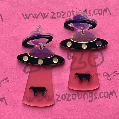 UFO Pink Cow Abduction Stud Earrings