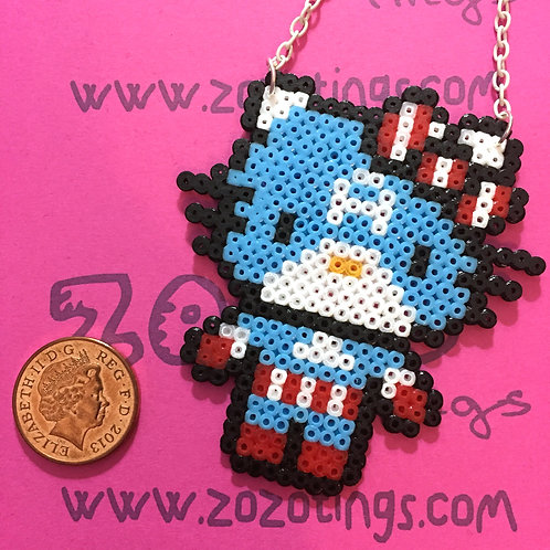 Captain America Kitty Pixel Necklace