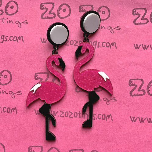 Pink Flamingo Sparkly Stud Earrings