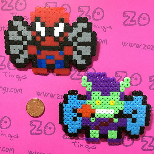 Spider-Man & Green Goblin Pixel Hair Bows