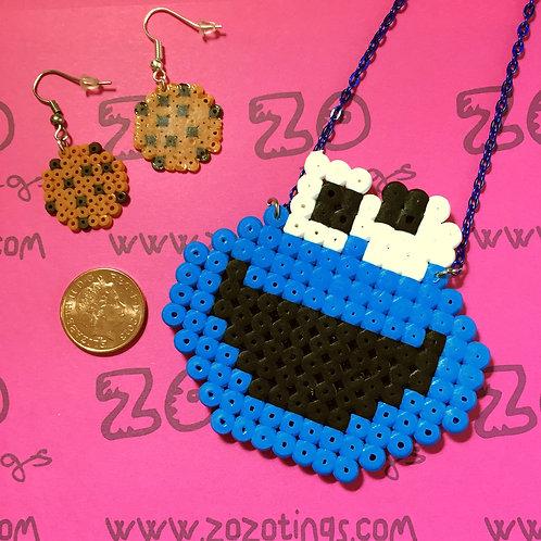 Cookie Monster Pixel Earring & Necklace Set