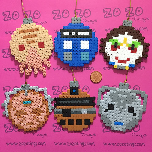 Doctor Who Christmas Pixel Baubles