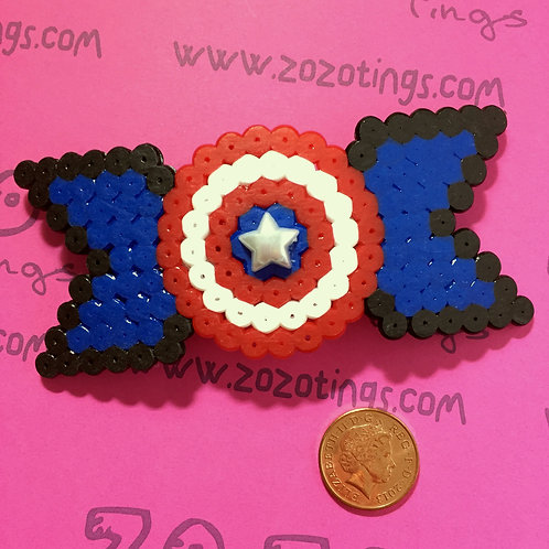 Captain America Shield Pixel Hair Bow