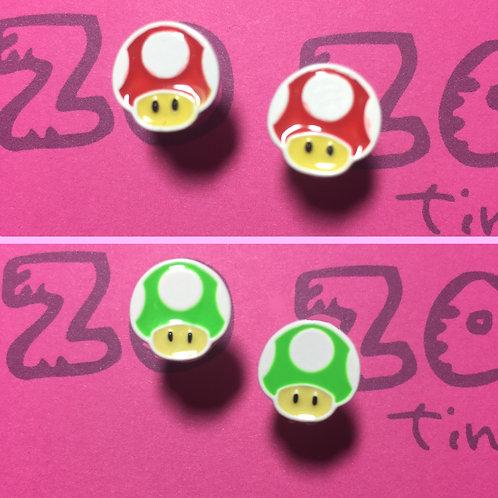 Mario Mushrooms Metal Stud Earrings