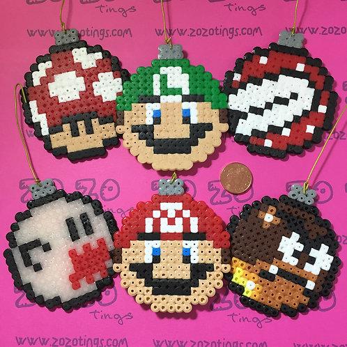 Mario Christmas Set 1 Pixel Baubles