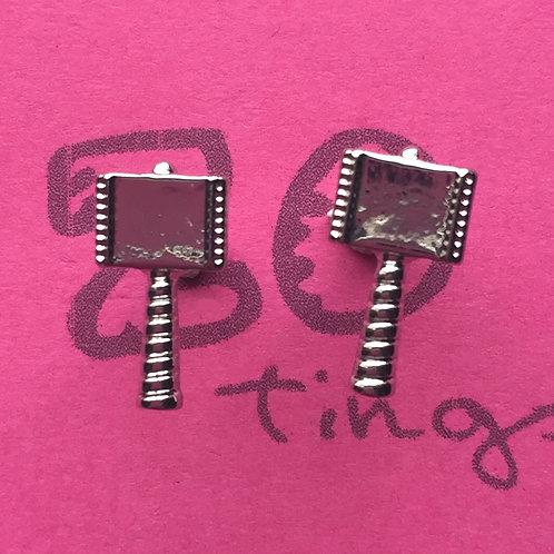 Thor 'Mjolnir' Metal Stud Earrings