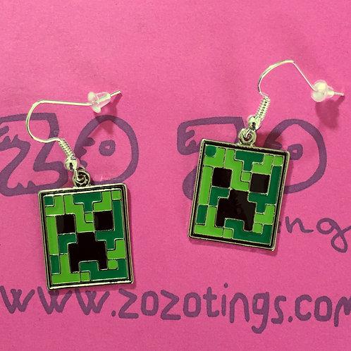 Minecraft Creeper Metal Earrings