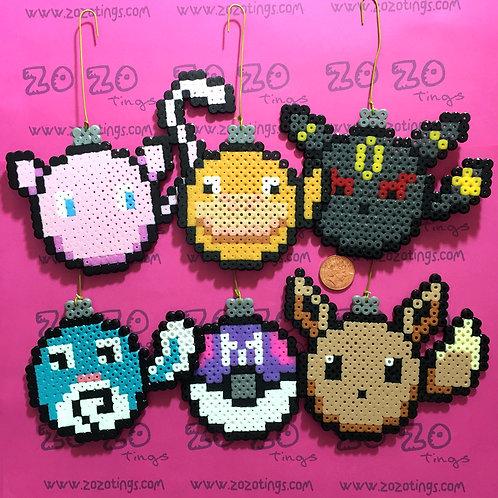 Pokemon Set 2 Christmas Pixel Baubles