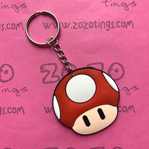 Mario Mushroom Rubber Charm Keyring
