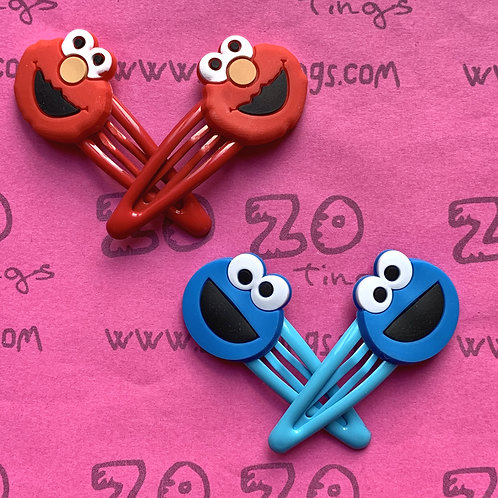 Elmo & Cookie Monster Snap Hair Clips