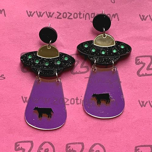 UFO Black Cow Abduction Stud Earrings