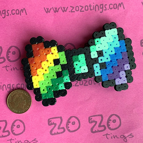 Rainbow Pixel Hair Bow