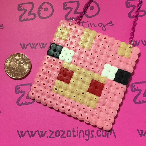 Minecraft Pig Pixel Necklace