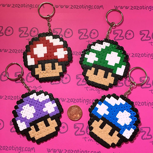 Mario Mushroom Pixel Keyrings