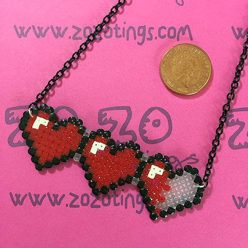 Zelda Hearts Pixel Necklace