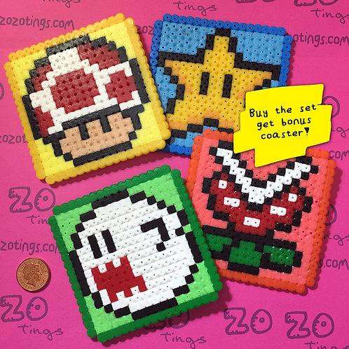 Mario Pixel Coasters