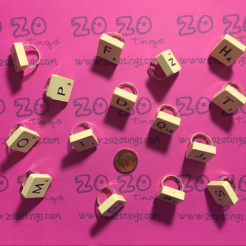 Scrabble Tile Rings