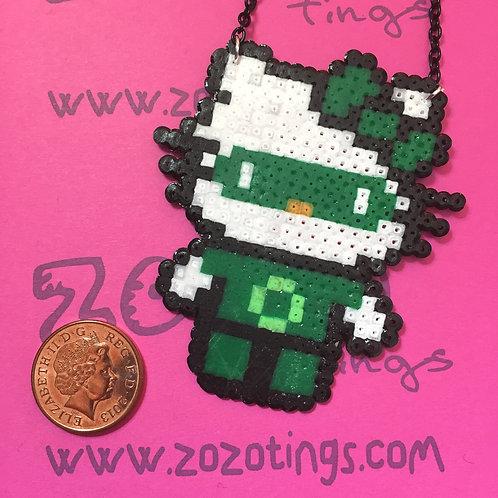 Green Lantern Kitty Pixel Necklace