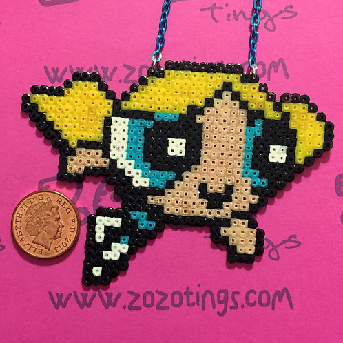 The Powerpuff Girls Bubbles Pixel Necklace