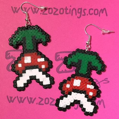 Mario Piranha Plant Pixel Earrings