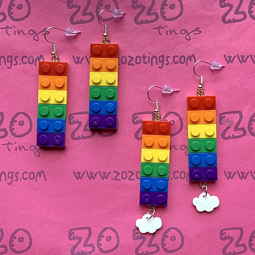 Rainbow Lego Style Earrings