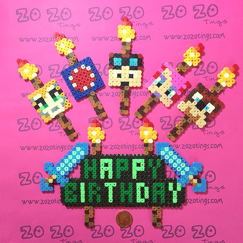 Minecraft Happy Birthday All-stars Pixel Set