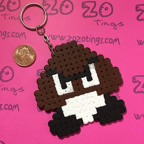 Mario Goomba Pixel Keyring