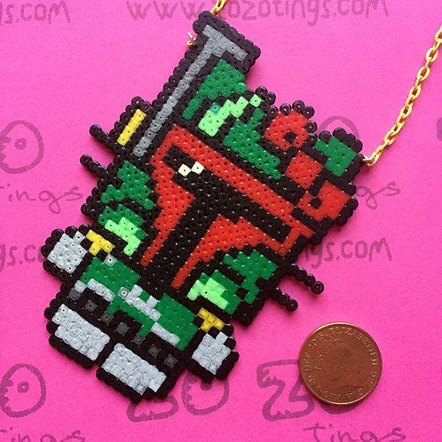 Star Wars Boba Fett Kitty Pixel Necklace