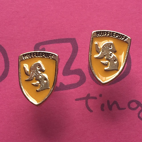 Harry Potter Hufflepuff Metal Stud Earrings