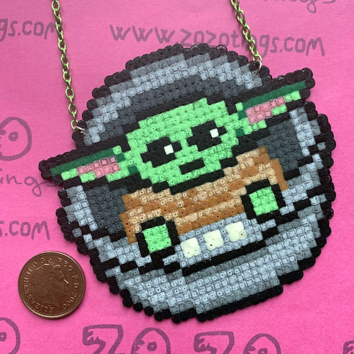 Star Wars Baby Yoda 'The Child' Pixel Necklace
