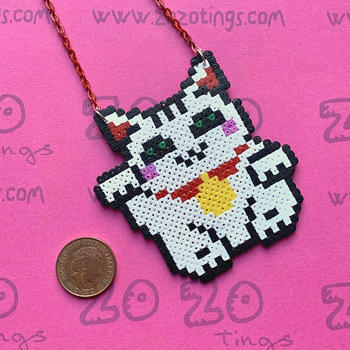 Beckoning Cat 'Lucky Cat' Pixel Necklace
