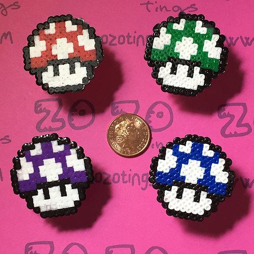Mario Mushroom Pixel Rings