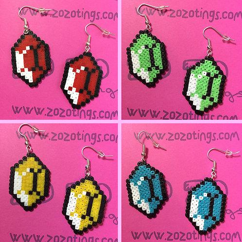 Zelda Gemstone Pixel Earrings