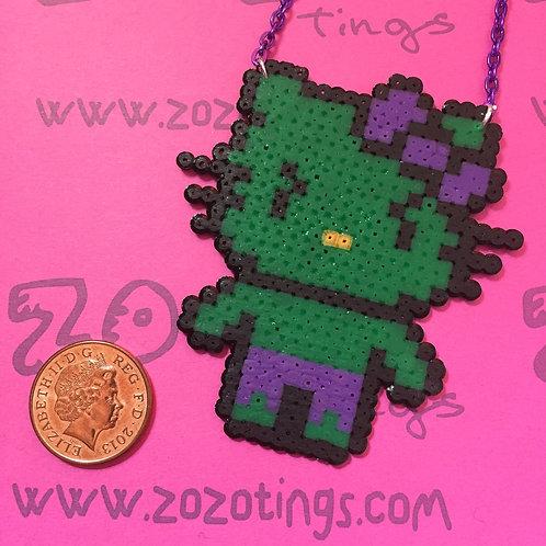 The Hulk Kitty Pixel Necklace