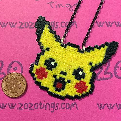 Pokemon Pikachu Head Pixel Necklace